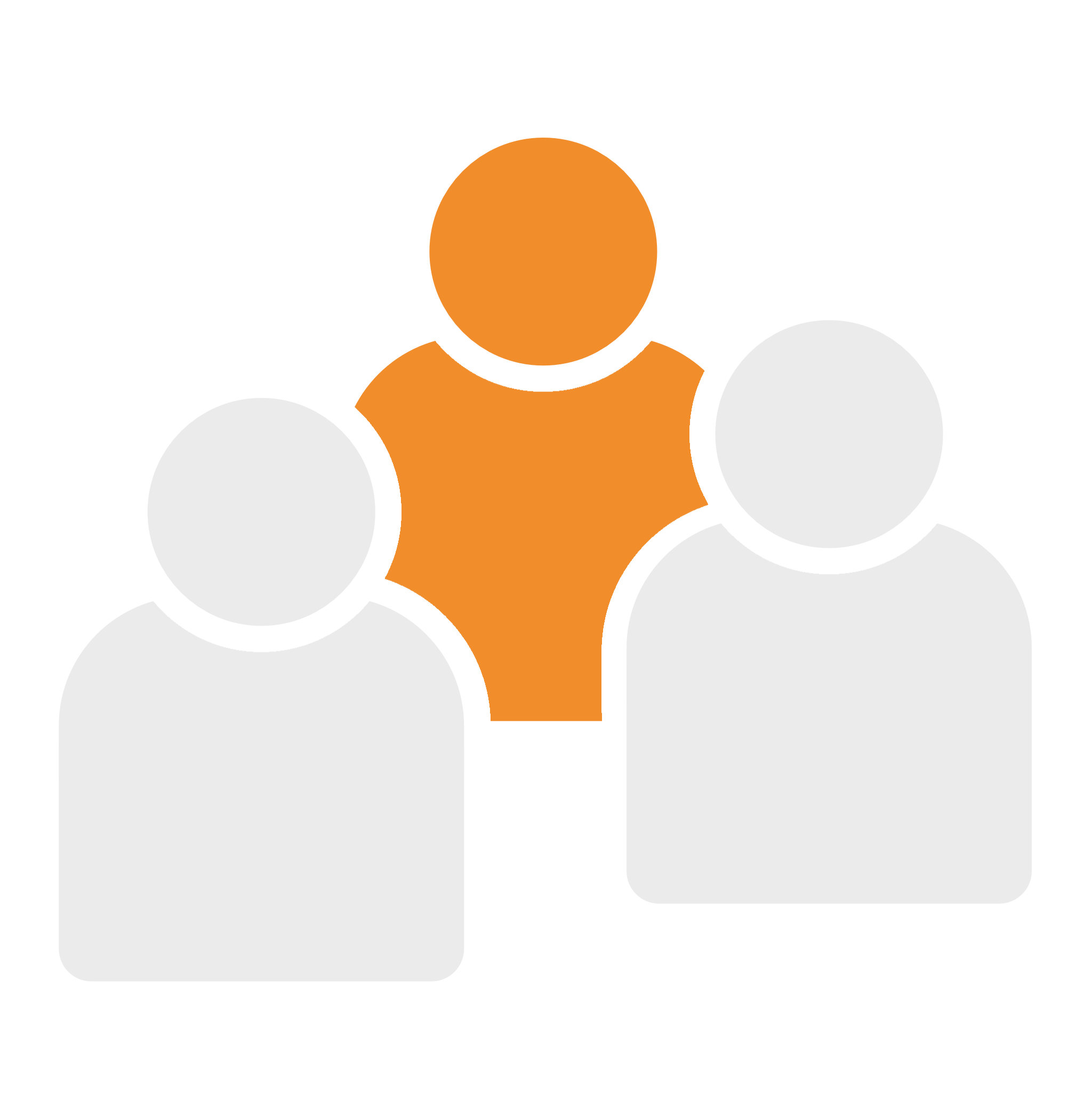 icon of a group of persons, center one orange, both in the front are gray