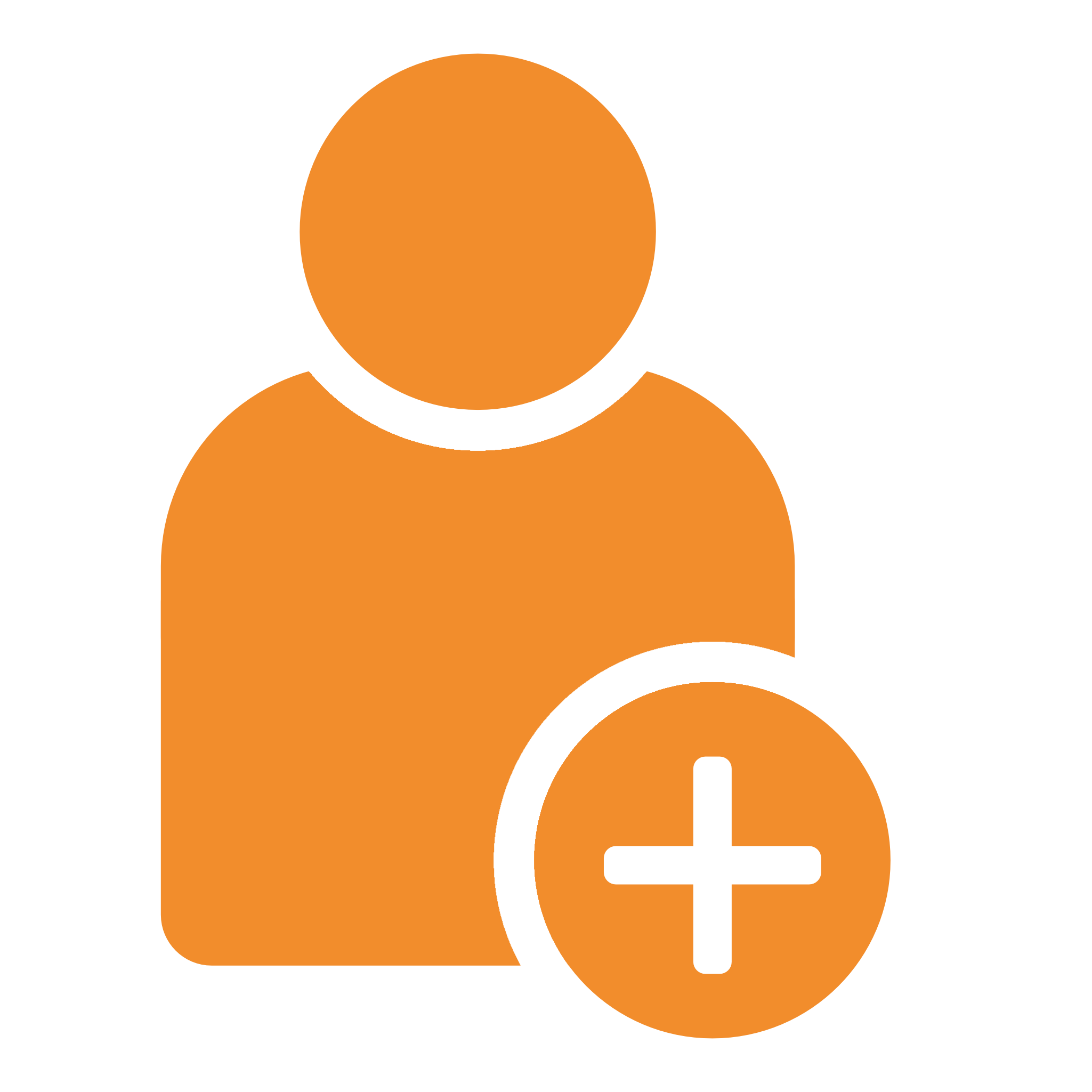 orange icon of a person with a plus sign in the front